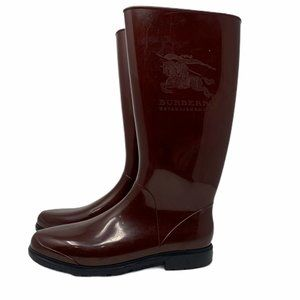 Burberry Rain Boots Burgundy Side Logo EU 40